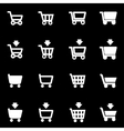 white shopping cart icon set vector image