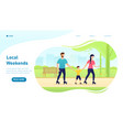 young happy family walks in park with their vector image