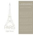 World landmarks Paris France Eiffel tower Graphic vector image