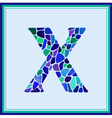 X - letter - Green Watercolor mosaic vector image