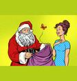 joyful santa claus without gifts and beautiful