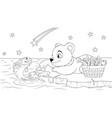 a polar bear cub catches vector image vector image