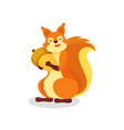 adorable forest squirrel with big acorn wild vector image