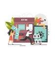 atm machine flat style design vector image
