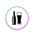 beer bottle and glass icon on white background vector image vector image