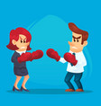 businesswoman in boxing gloves fighting against vector image vector image