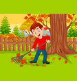 cartoon male cleaner sweeping autumn leaves vector image
