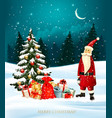 christmas holiday background with gift boxes and vector image