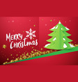 christmas tree with gold stars on red background vector image vector image