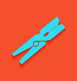 clothes peg sign whitish icon on brick vector image vector image