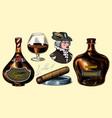 cognac bottles glass goblet cigar and gentleman vector image vector image