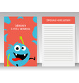 cute blue monster note book template vector image