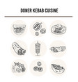 donner kebeb cuisine menu doodle icons vector image