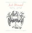 drawn bride groom carriage sketch vector image vector image