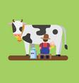 farmer milking cow fresh milk can flat vector image vector image