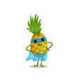 flat cartoon smiling superhero pineapple standing vector image vector image