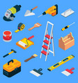 flat isometric home repair work tool kit vector image