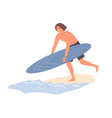 guy running to water from sand beach carrying vector image vector image