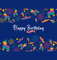 happy birthday card with mexican decoration vector image vector image