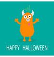 Happy Halloween card Orange monster with eyes vector image vector image