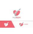 heart and rocket logo combination love vector image
