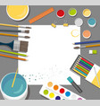 hobby paints brushes colored pencil pen pains vector image vector image