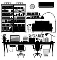 home office library soho a big set home vector image vector image