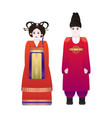 korean traditional wedding couple vector image