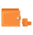 leather wallet with cash money coins finance vector image