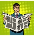 Man businessman reading news newspaper vector image vector image