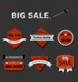 modern retro red and white sale labels on gray vector image vector image