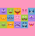 monster faces funny cartoon monsters heads eyes vector image vector image