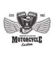 motorcycle engine with wings and sample text vector image vector image