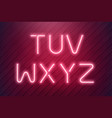 neon light type from pink led neon lamps in vector image vector image