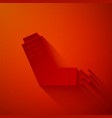paper cut inhaler icon isolated on red background