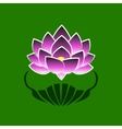 Purple stylized image of a lotus flower on a green vector image vector image