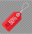 realistic discount red tag isolated on checkered vector image vector image