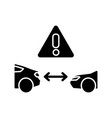 safe distance between cars black glyph icon vector image