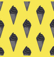 seamless pattern black charcoal ice cream vector image vector image