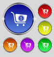 shopping cart icon sign Round symbol on bright vector image vector image