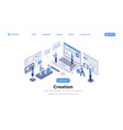 software creation landing page isometric template vector image vector image
