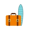 Surfboard and brown suitcase icon in flat style vector image vector image