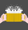 together drinking beer Two men holding cups with vector image vector image