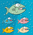Fish in Blue Bubble Water vector image
