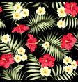 tropical plumeria and green palm leaves vector image