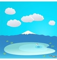 Mountain and lake at the background of cloudy sky vector image
