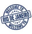 welcome to rio de janeiro blue round vintage stamp vector image