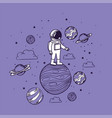 astronaut draw with planets design