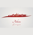 athens ga skyline in red vector image vector image