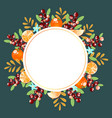 beautiful round frame with berries and oranges ve vector image vector image